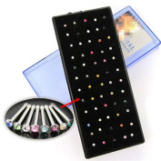 JaneDream 60x Crystal Rhinestone Nose Ring Bone Stud Body Piercing Jewellery Multi-colour