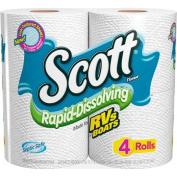 Scott Rapid-Dissolving Toilet Paper, White, 4 Regular Rolls