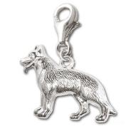 "Clever Jewellery Silver Charm Pendant 925 Real Silver "" German Shepherd Grim Reaper-Shaped Shape Shiny Reversible"""