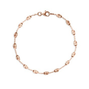 Rose Gold Beaded Cable Bracelet with Lobster Clasp