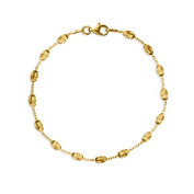 Silver and Gold Beaded Cable Bracelet with Lobster Clasp