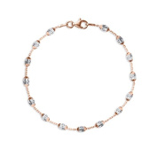 Rose Gold and Silver Beaded Cable Bracelet with Lobster Clasp