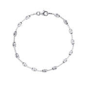 Silver Beaded Cable Bracelet with Lobster Clasp