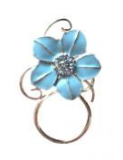 NEW Gorgeous Blue Crystal Flower Eye Glasses Spectacle Hanger Brooch Pin Holder