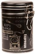 BLACK ARABICA Coffee - ROUND Coffee Tin / Tea Caddy / Kitchen Storage Tin/Canister - Clip Lid
