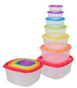 Square Rainbow 7pcs Food Container Safe Fridge Storage Freezer Microwave Box Lid Kitchen Strong Plastic