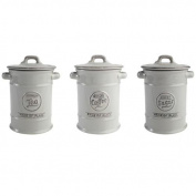 Pride of Place Tea Coffee and Sugar Storage Jars Ceramic Cool Grey