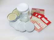 Pack of 12 White 63mm (standard) Jam Jar Lids with 30 Co-ordinating Labels