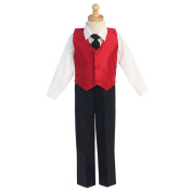 Baby Boys Red Poly Silk Vest Tie 4 Pcs Special Occasion Set 18-24M