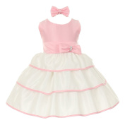 Baby Girls Pink Bow Sash Layered Easter Special Occasion Dress 12M