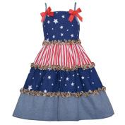 Bonnie Jean Girls 6M Patriotic Stars Stripe Leopard Ruffle Sundress