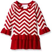 Bonnie Jean Baby Girls Red White Chevron Striped Peplum Christmas Dress 12M