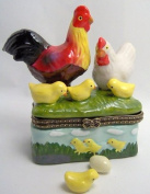 Rooster Hen Baby Chicks Chickens Trinket Box phb