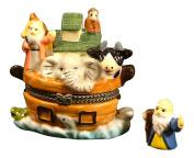 Noah's Ark Vessel Biblical Hinged Trinket Box phb