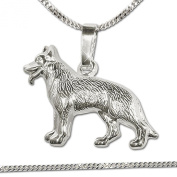 """Clever Jewellery Silver """"German Shepherd In Detail Reversible Fur Figurative"""" Pendant and Chain Tank 45 cm, 925 Real Silver for Both"""
