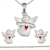 """Clever SCHMUCK-SET """"with Heart Matt Red Child Angel"""" Pendant, Stud Earring and A Matching and Chain Singapore, 925 Real Silver for Everything"""