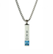 Bro Quantum Blue Crystal Urn Pendant - Memorial Ash Keepsake - Cremation Jewellery