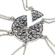 HuntGold 6Pcs Pizza Slice Silver Tone Best Friends BFF Friendship Family Necklace Pendant