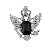 1pc Vintage Crown Eagle Pattern Collar Brooch Pin for Men Silver and Black