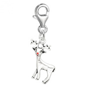 SEXY SPARKLES Women's Christmas Reindeer With Nose Charm For Clip On Jewellery Lobster Clasp