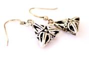 Fashion Earrings for Women 925 Sterling Silver Filigree Triangle Shape Dangle Earrings