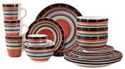 Gibson Home Casa Stella 16-Piece Round Dinnerware Set, Red