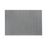 "Set of 4 Black Linnea Rib Vinyl Placemat Wipes Clean Rectangle 33cm x 19"""