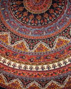Indian Mandala Print Round Cotton Tablecloth 190cm Brown
