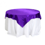 Koyal Wholesale Square Satin Overlay Table Cover, 230cm by 230cm , Purple