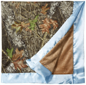 Mossy Oak Camouflage Camo Baby Blanket Cover With Blue Satin Edging