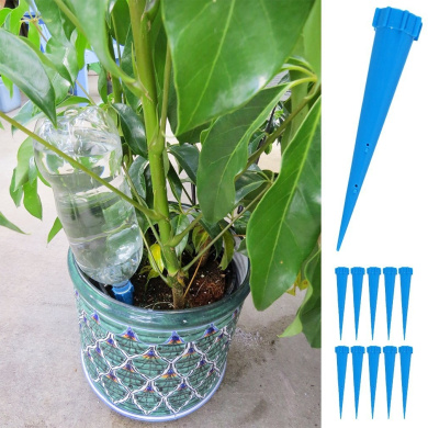 Evelots Set of 10 Watering Spikes Plastic Water Bottles Economical