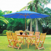 4m XL Outdoor Patio Umbrella w/ German Beech Wood Pole Beach Yard Garden Wedding Cafe Garden Blue