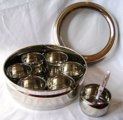 NEW STAINLESS STEEL MASALA DABBA SPICE CANISTER BOX WITH LID & 7 POTS INDIAN. PRIMA