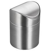 Demiawaking Mini Stainless Steel Rubbish Bin Swing Bucket Table Desktop Garbage Can