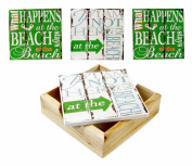 What Happens At the Beach Tile Coasters and Wood Tray Set
