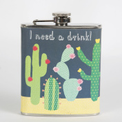 Sass & Belle Colourful Cactus Hip Flask, Multi Colour