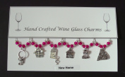 New HomeThemed Wine Glass Charms Set of 6 Handmade Hot Pink