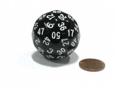 Sixty-Sided D60 35mm Large Gaming Dice - Black with White Numbers