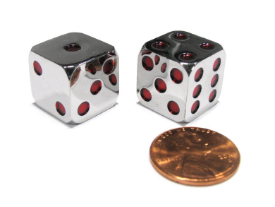 Box of 2 Zinc Metal Alloy D6 15mm Heavy Dice - Red Pips