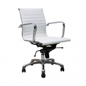 Manhattan Comfort Delancey Mid-Back Adjustable Office Chair in White
