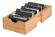 Lipper International Bamboo Expandable Business Card Holder with Dividers and Index Tabs