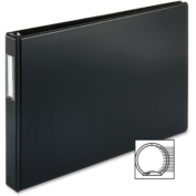 Business Source Tabloid-size Black Reference Binder - 2.5cm Binder Capacity - Tabloid - 28cm Width x 43cm Length Sheet Size - Round Ring Fastener - Black - 1 Each