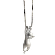 Silver Plated Cat Pendant Alloy Necklace
