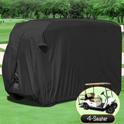 NEH® WATERPROOF SUPERIOR BLACK GOLF CART COVER COVERS CLUB CAR, EZGO, YAMAHA, FITS MOST FOUR-PERSON GOLF CARTS