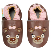 Momo Baby Infant/Toddler Soft Sole Leather Shoes - Mrs. Bear Brown