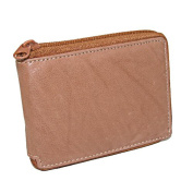 Paul & Taylor Mens Leather Zippered Bifold Wallet, Tan