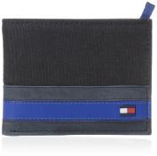 Tommy Hilfiger Mens Leather Exeter Passcase Billfold Wallet, Black