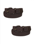 CTM® Size Medium Mens Elastic Covered Buckle Braided Stretch Belt (Pack of 2), Brown