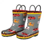 Foxfire Boys Grey Fire Trucks Printed Rubber Boots 10 Toddler