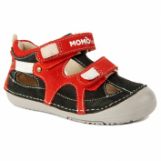 Momo Baby Boys Leather Sandals - Thomas Black/Red
